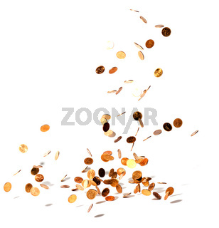 coins falling on white background