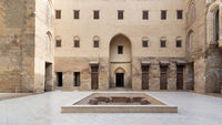 Main courtyard of Mamluk era public historic mosque of Sultan Qalawun, Moez Street, Cairo, Egypt