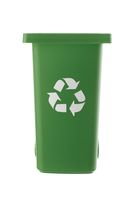 Plastic green trash can isolated on white background
