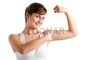 Woman Poiting at her Bicep
