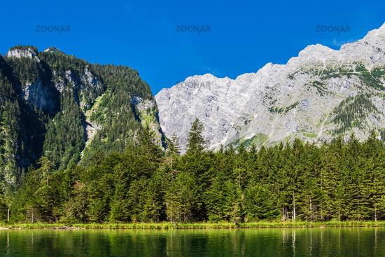 Blick auf den Königssee im Berchtesgadener Land in Bayern