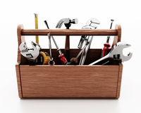 Wooden toolbox with various hand tools isolated on white background. 3D illustration