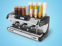 Concept professional coffee machine with paper cups 3d rendering on blue background with shadow