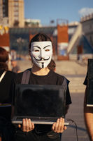 Kiev, Ukraine , 25.07.2021. Anonymous for the voiceless protest on the main square.