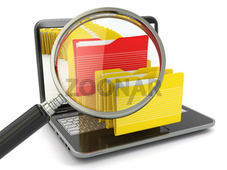 Search folder. Laptop, loupe and files.