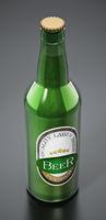 Generic beer bottle isolated on black background. 3D illustration