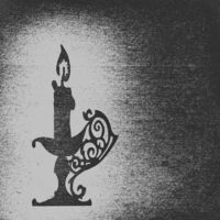 candle in candlestick silhouette on old paper