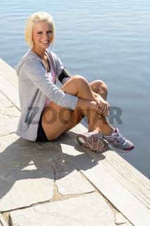 Sport woman summer relax water pier