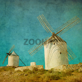 Vintage image of windmills in Consuegra, Spain