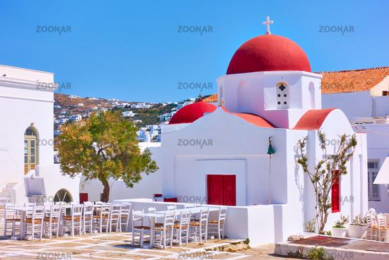 Square wuth old greek church in Mykonos