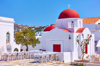 Square wuth old greek church in Mykonos