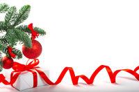 White gift box wirg red bow