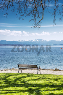 Bench on Lake Starnberg Germany