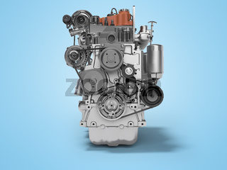 3D rendering of diesel engine for car front view on blue background with shadow