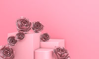 Pink mockup with rose flowers
