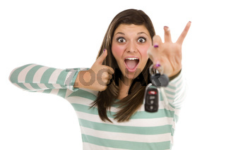 Ethnic Female with Car Keys and Thumbs Up on White