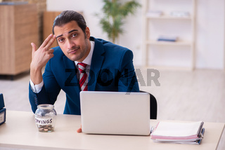 Young businessman employee in retirement concept