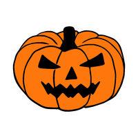 Mad Jack O Lantern hand drawn art, halloween pumpkin isolated