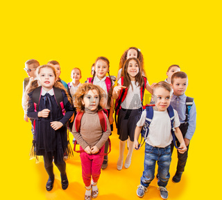 Group of kids kids, boys and girls, ready back to school