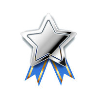 Bright silver award in star shape with blue tape, glossy winner badge on white