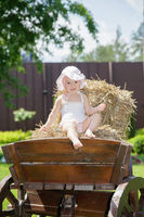 Beautiful little girl sitting on a carriage