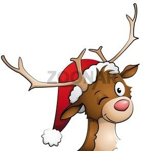 Rentier mit Weihnachtsmütze auf