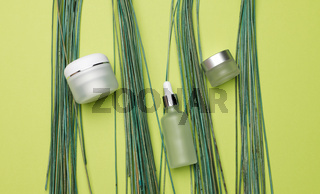 jar, bottle and empty white plastic tubes for cosmetics on a green background. Packaging for cream, gel, serum, advertising and product promotion
