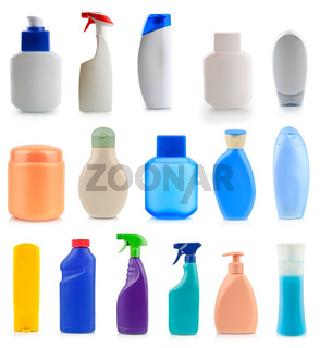 Collection of plastic and glass bottles