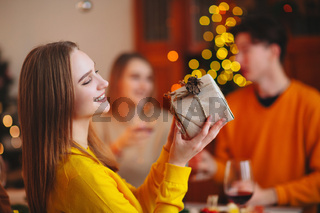 Happy people exchanging presents on Christmas day