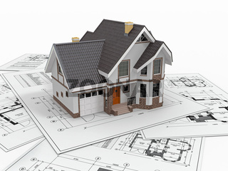 Residential house with tools on architect blueprints. Housing project. 3d