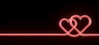 Two red glowing tube hearts 3D