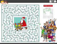 maze game with cartoon Santa Claus and people crowd