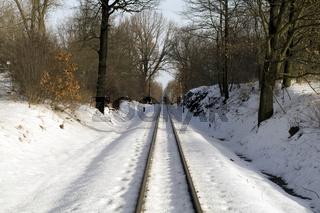 Gleise in Friedewald-Bad im Winter