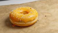 fresh baked donut on a paper