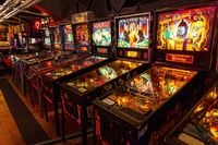 Moscow, Russia - April 29, 2021: Pinball museum. Pinball table close up view of vintage game machine