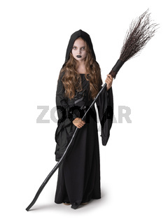 Halloween witch girl on white