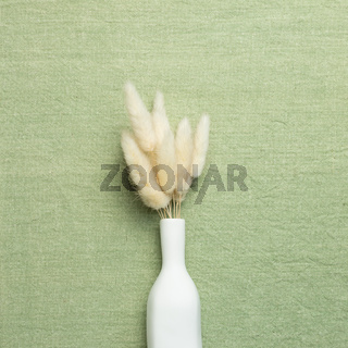 Vase of beige Lagurus ovatus dry grass on green fabric background. flat lay, top view, copy space
