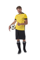 Soccer player with thumb up