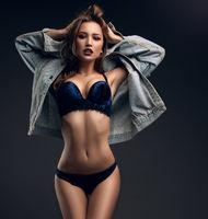 Gorgeous girl in velvet lingerie full-length shot