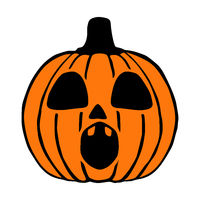 Surprised Jack O Lantern hand drawn art, halloween pumpkin isolated