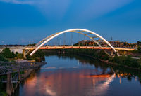 Korean Veterans bridge crossing the Cumberland river as dusk falls in Nashville
