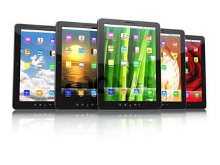 Group of digital tablet pc with different screen backgrounds. 3d