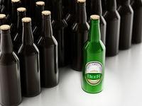 Green beer bottle stands out among black beer bottles. 3D illustration