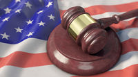 Supreme Court - Judge's gavel lies on the US flag