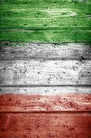 Italy Flag on wood background