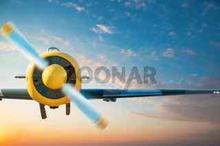 Small aircraft flying above in the blue sky