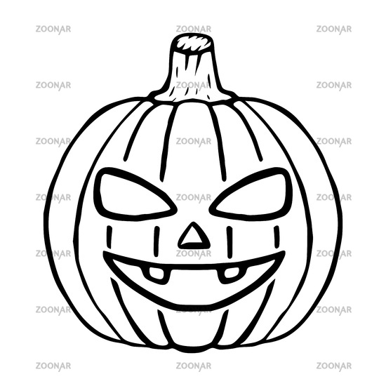 Happy Jack O Lantern doodle icon, halloween pumpkin isolated
