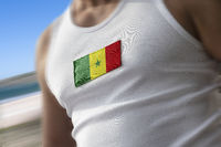 The national flag of Senegal on the athlete's chest