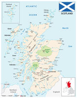 a detailed colored vector map of Scotland
