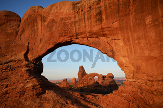 North Window and Turret Arch in Arches National Park at Sunrise